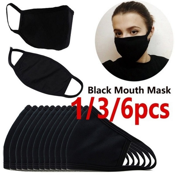 3/6 Pcs Black Mouth Mask Outdoor Fashion Anti-Dust Cotton Unisex Face Mask Respirator Winter Warm Mouth Mask