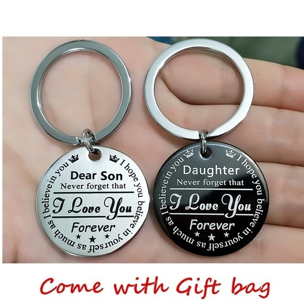 Grandson Granddaughter Son Daughter I Love You Forever Crown Keychains Stainless Steel Keychain Crown Pendant Necklace Gifts for Kids