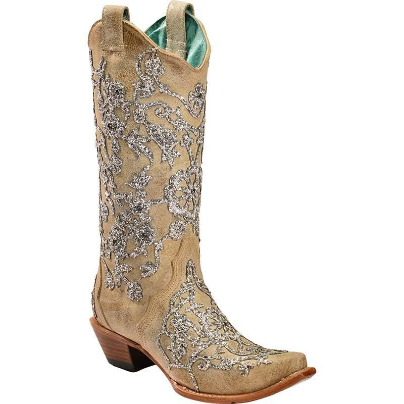 Women Glitter Overlay Embroidery Crystals Cowgirl Boots