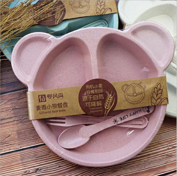 Cartoon Children Baby Kids Tableware Set Feeding Food Plate Dishes Bowl Set With Spoon Fork ECO-friendly Tableware Plates