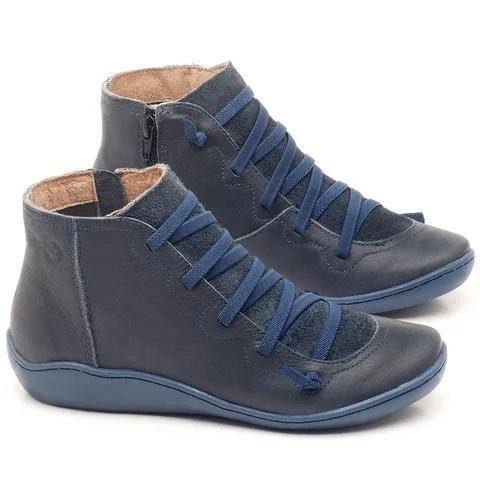 Women Booties Casual Flat Leather Lace-up Zipper Boots