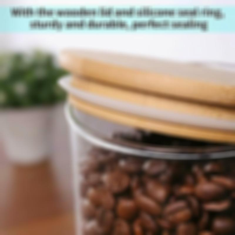 77L [New And Improved] Coffee Bean Container With Wooden Lid, Glass Airtight Sea