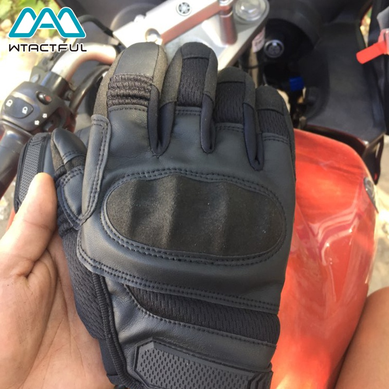 WTACTFUL Touch Screen Leather Tactical Motorcycle Hard Knuckle Full Finger Gloves for Army Airsoft Paintball Combat Hunting Bicycle
