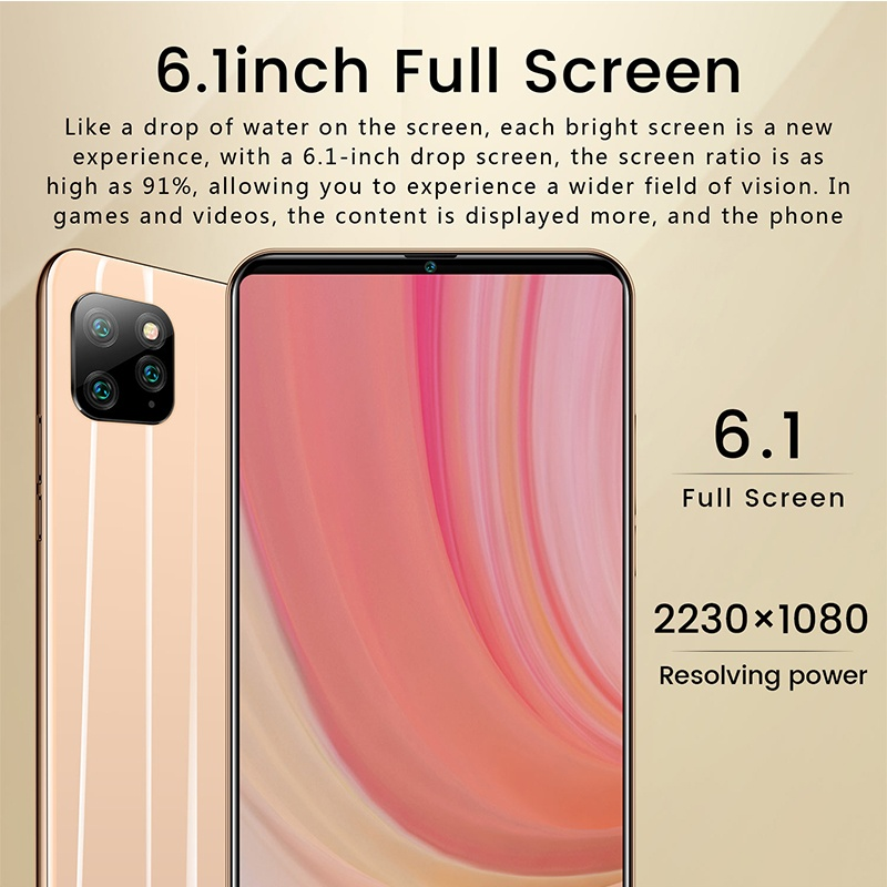Android 9.1 Smartphone I11 Pro Face Unlock 6.1 Inch 8Gb 512Gb Memory Core 4G-5G Dual Sim Cards Support