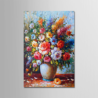 Oil Painting Hand Painted - Floral / Botanical Modern Stretched Canvas