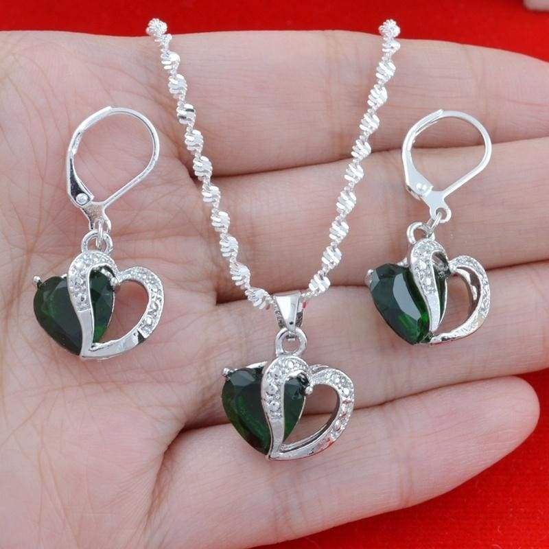 Fashion Women 925 Sterling Silver Sapphire Pendant Necklace&Earrings Jewelry Set