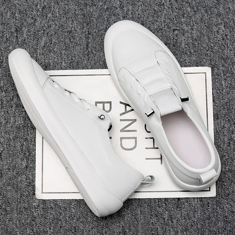 New Genuine Leather Shoes Men Sneakers Casual Male Footwear Fashion Brand White Shoes Mens Cow Leather White Sneakers