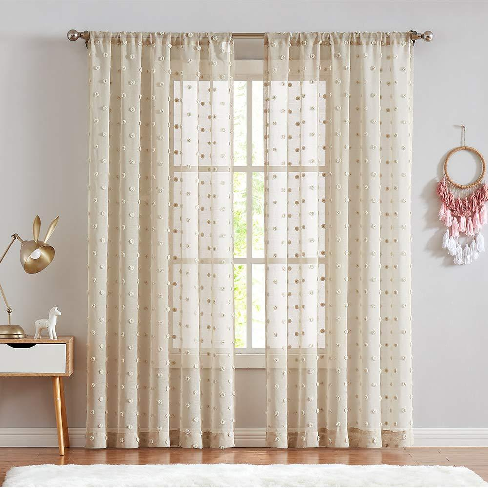 Sheer Window Curtains Textured Rod Pocket Oile Curtain Voile Curtain S Wonderful Coco