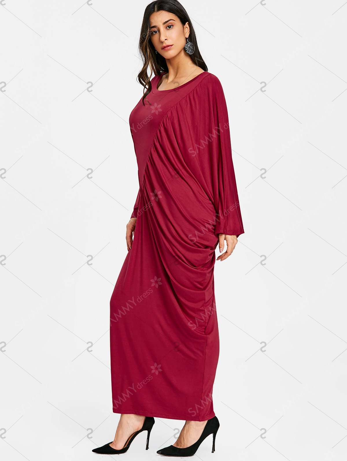 Batwing Sleeve Ruched Kaftan Dress - Wine Red - S