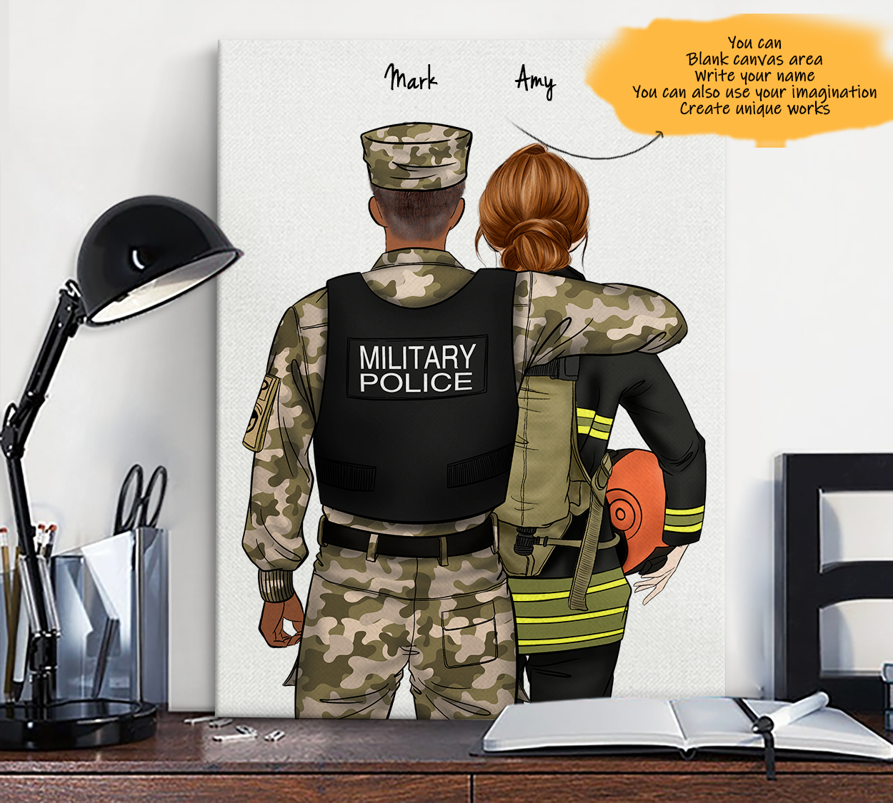 He is My Friend! Hand Draw Custom Canvas-Print Gift Military Police US-Dark&Firefighter