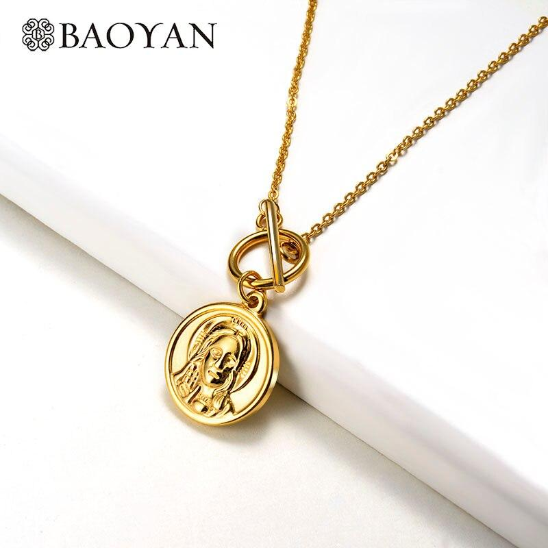 Baoyan Fashion Stainless Steel Necklace Vintage Gold Coin Necklace with OT Clasp Fashion Thorns Cross Pendant Necklace For Women