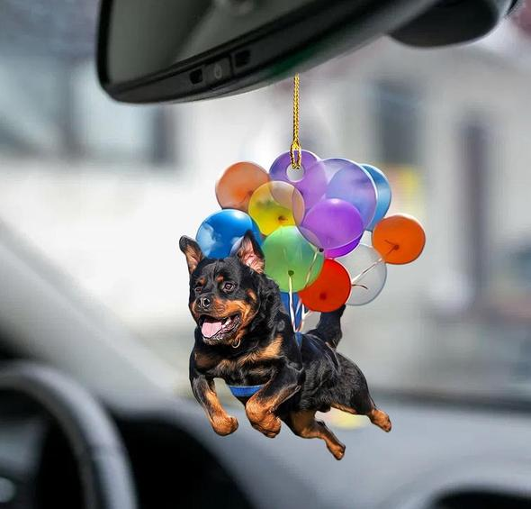 Rottweiler Dog Fly With Bubbles Car Hanging Ornament