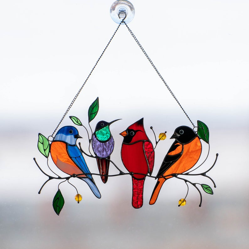 Birds Stained Window Hangings - Mothers Day Gift