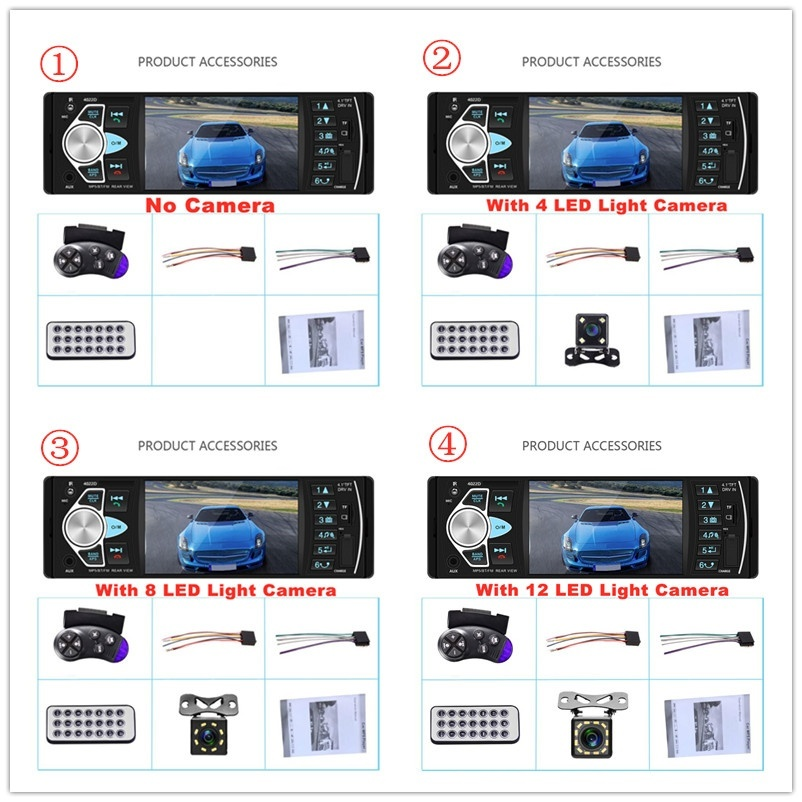 1Din 4.1 Inch Car MP5 Player Bluetooth Car Radio Audio Stereo With FM HD FM/USB/SD/AUX Steering Wheel Remote Control And Reverse Camera
