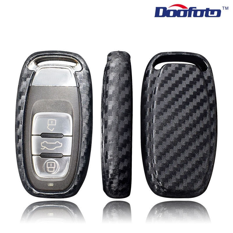 Auto Protection Key Covers Car Styling Case For Audi A6L A4L Q5 A3 A4 B6 B7 B8 Smart Carbon Fiber Grain Shell Accessories