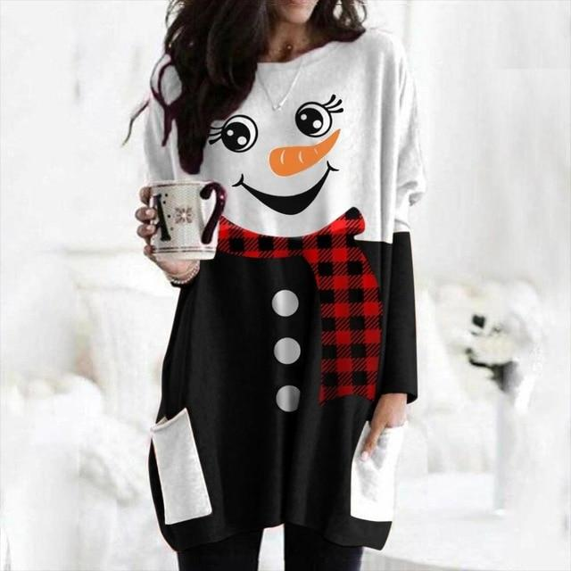 Women's cute Christmas printed crewneck long sleeve T-shirt tops with pockets