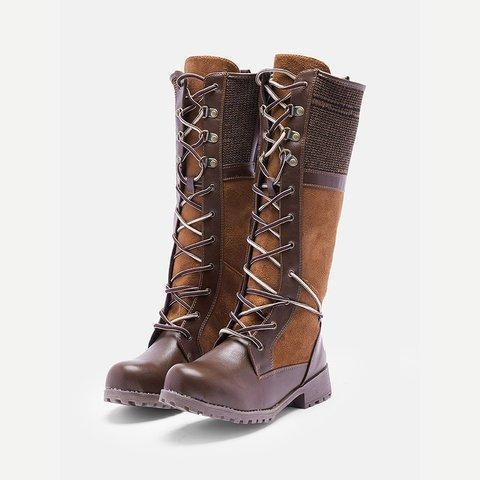 Women Knee High Low-heels Gladiator Laced Boots
