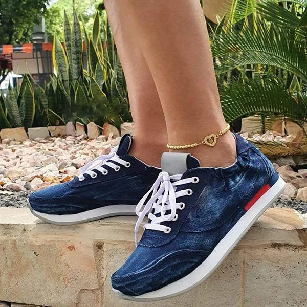 Lemmikshoes Women's Denim Summer Casual Sneakers