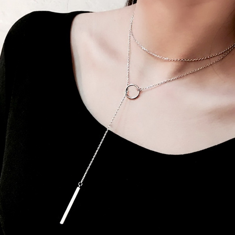 Vintage  Sterling Silver Jewelry Circle Strip Long Chain Pendants&Necklaces sterling-silver Choker Necklace