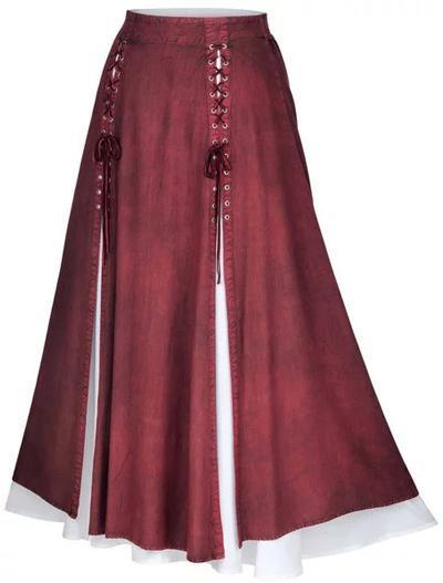 Women Long Skirts Vintage Maxi Lace up skirt Plus Size
