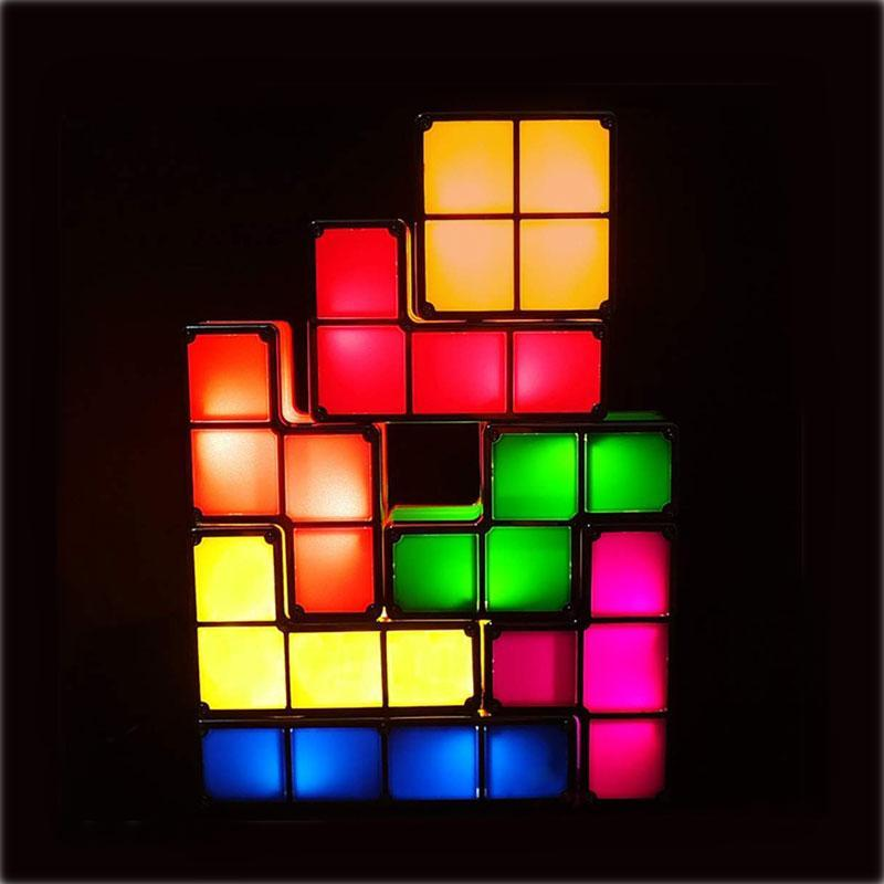 7 Color Stackable Interlocking LED Tetris Night Light Set