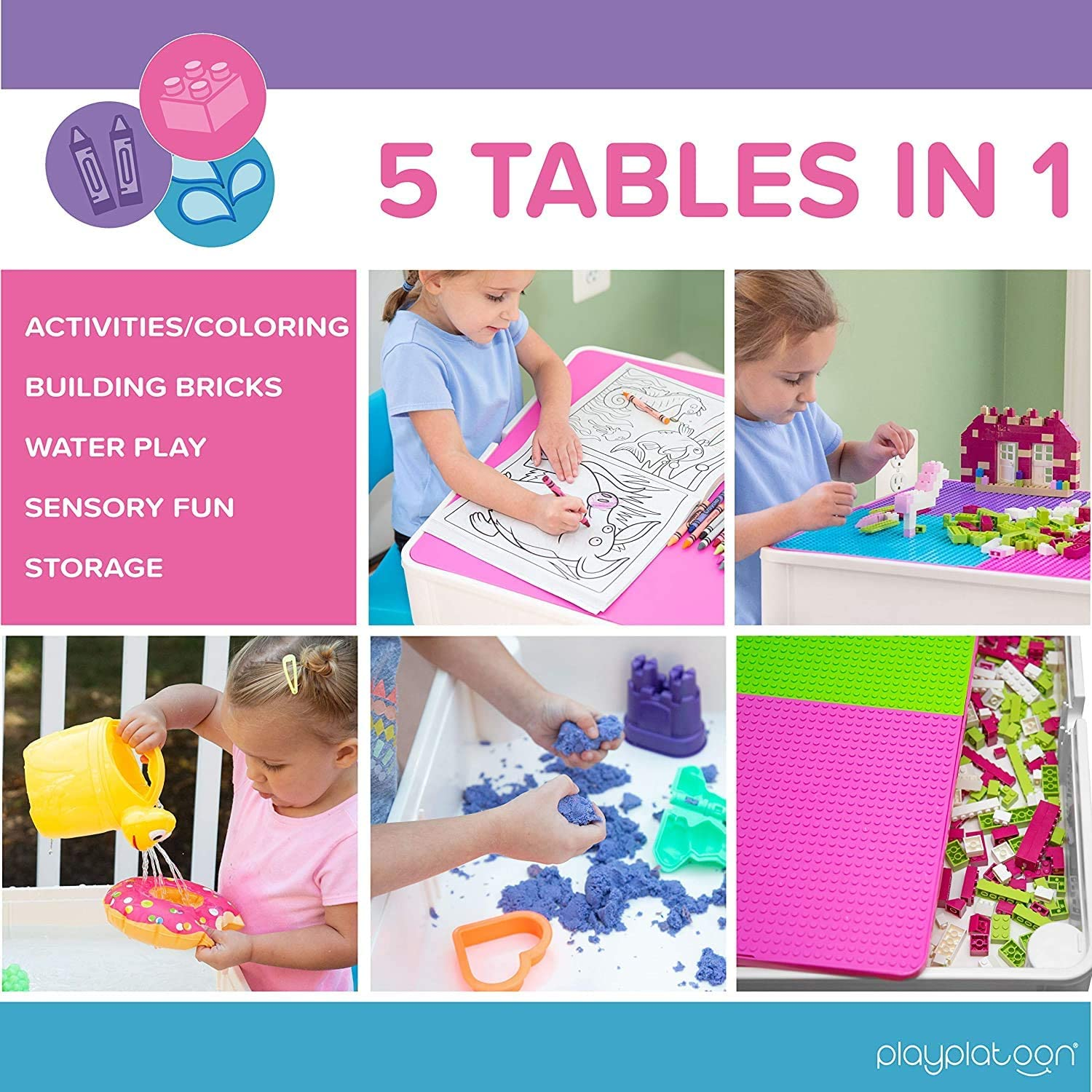 Kids Activity Table Set - 5 in 1 Water Table, Building Block Table, Craft Table and Sensory Table with Storage - Includes 2 Chairs and 25 Ex-Large Blocks