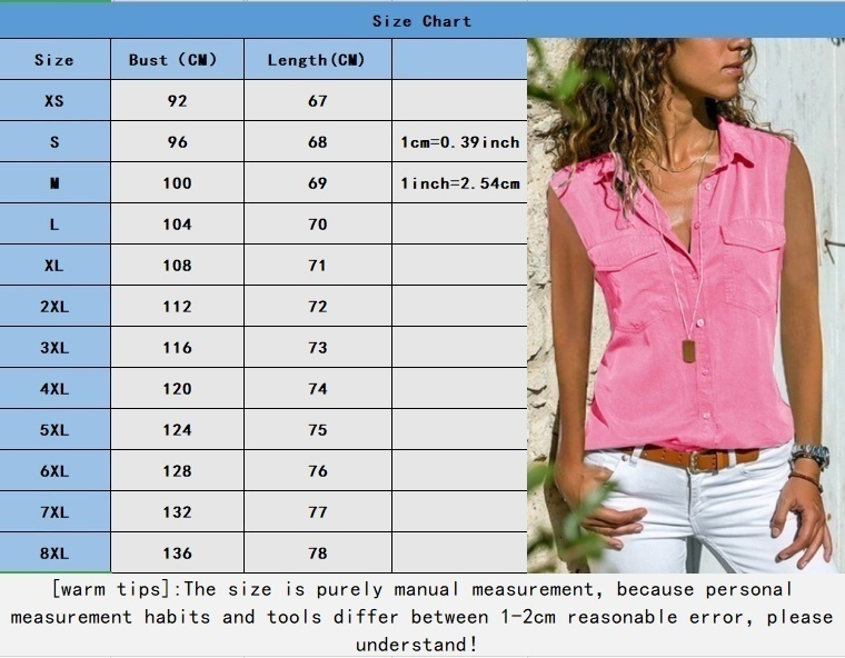Women Summer Sleeveless V-neck Tops Pure Color T-shirt Casual Tank Tops Loose Button-up Blouse Lady Sleeveless Shirts Plus Size Top