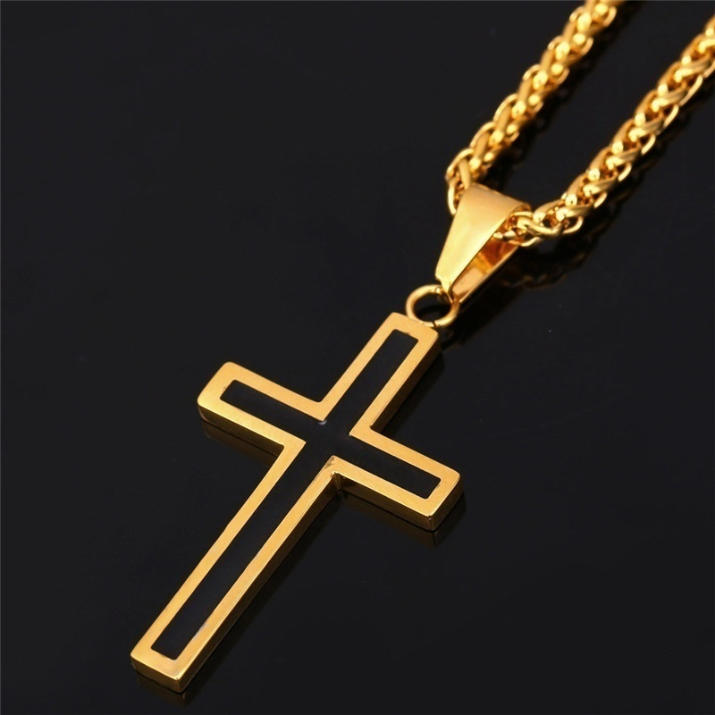 Stainless Steel Mens Chains 18K Real Gold Plated Vintage Enamel Latin Christian Cross Pendants Necklaces Jewelry Accessories MGC