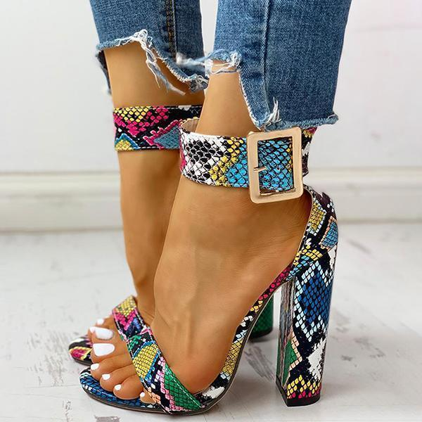 Faddishshoes Printing Ankle Buckled Chunky Heeled Sandals