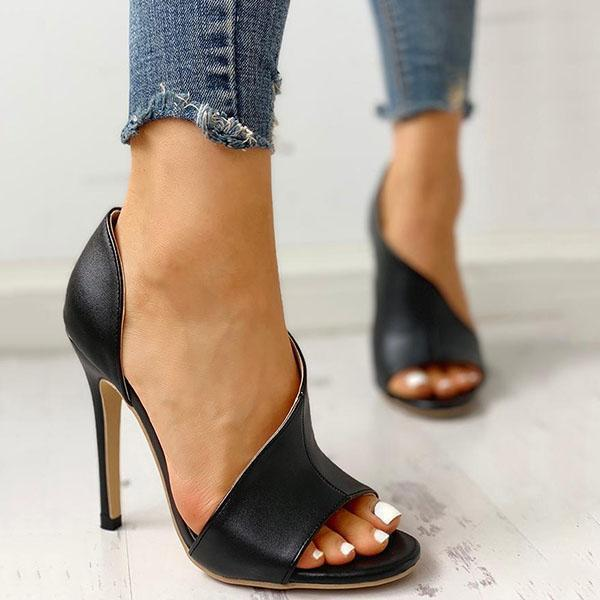 Ailsary  Cutout Peep Toe Thin Heeled Heels