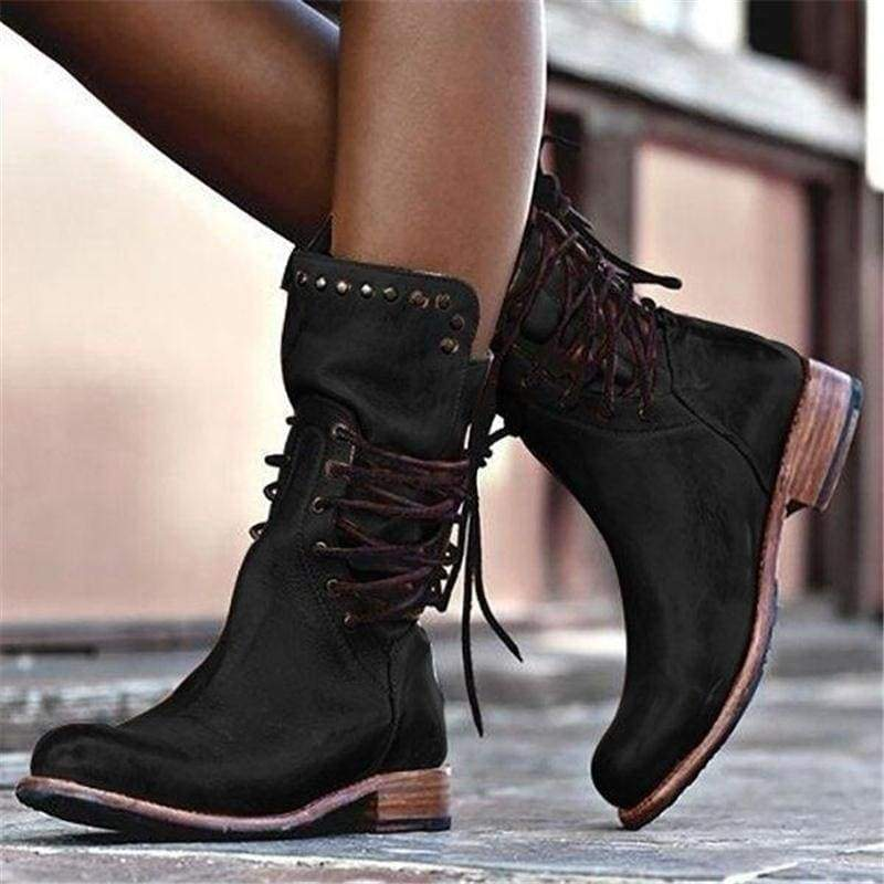 Plus Size Women's Winter Punk Style Military Motorcycle Short Boots Lace Up Vintage Rivet Chunky Heel Leather Cowboy Boots 34-43