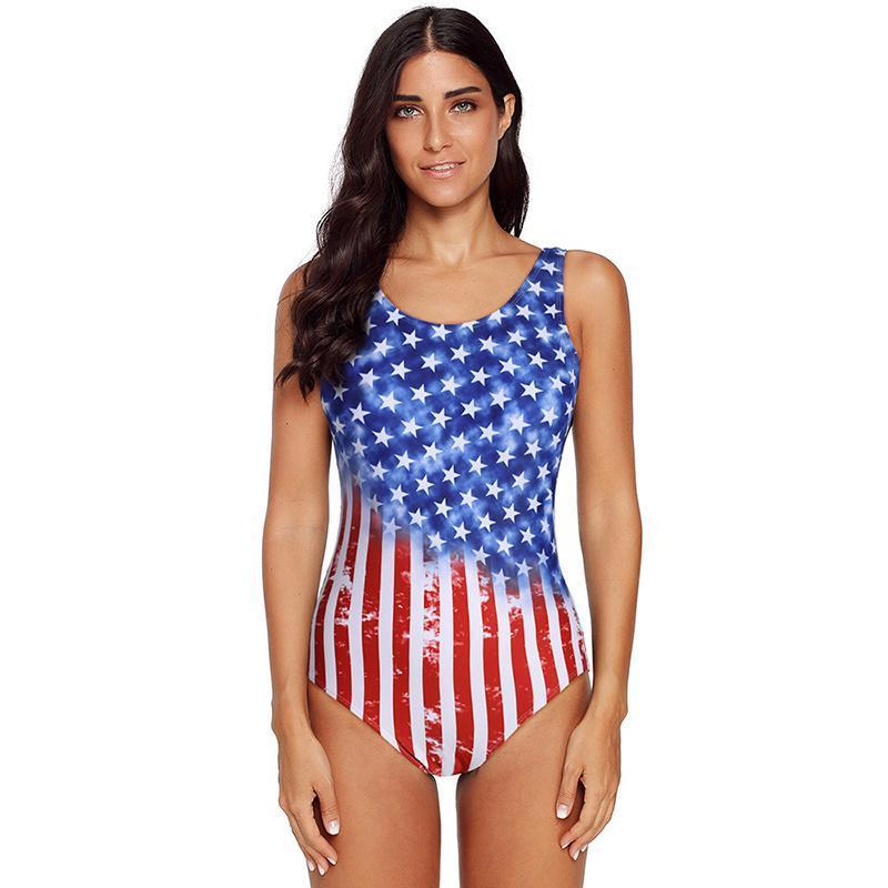 American Stars Red White And Blue Bathing Suit