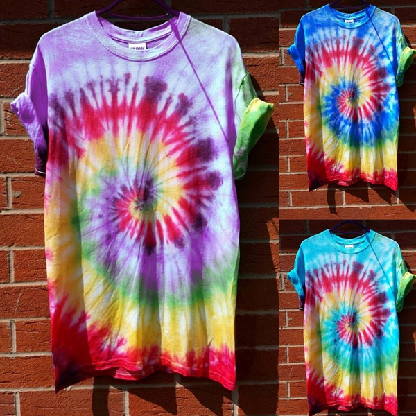 Women Fashion Tie Dye Print Short Sleeve Tops T-shirts Loose Casual Plus Size Tops