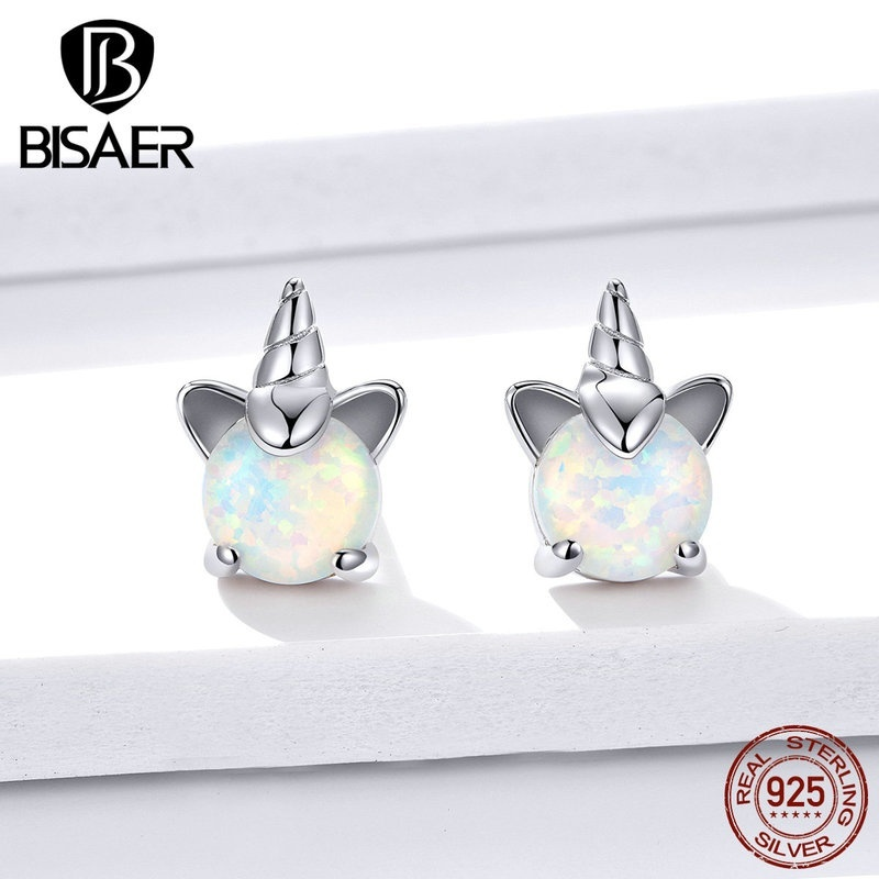 BISAER 925 Sterling Silver Lovely Unicorn Stud Earrings for Women Girl Silver Jewelry Party Gift