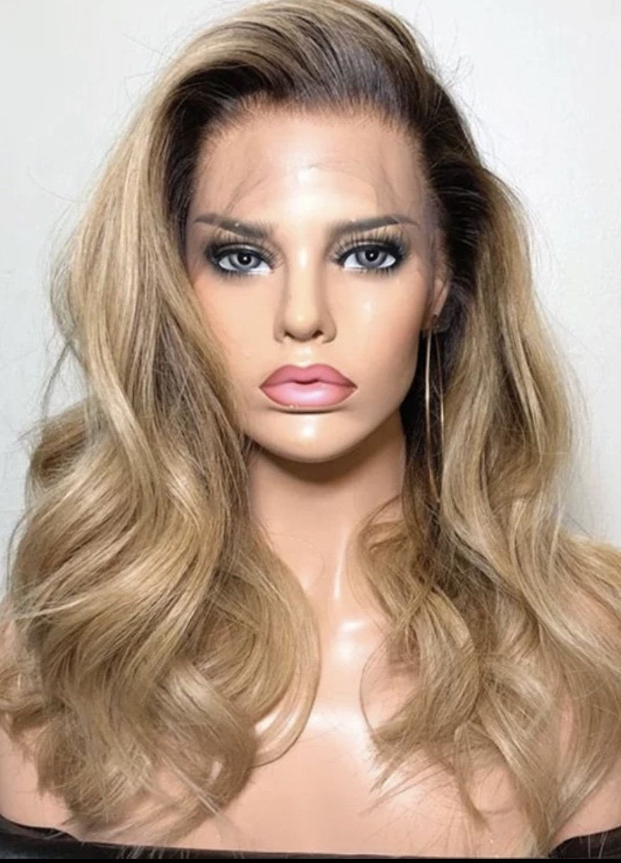 2020 Fashion Blonde Wigs For White Women Blonde And Blue Hair Half Bleached Hair Natural Platinum Hair Blonde Human Hair Lace Front Wigs Blond Hair With Brown Highlights Lace Frontal Wigs