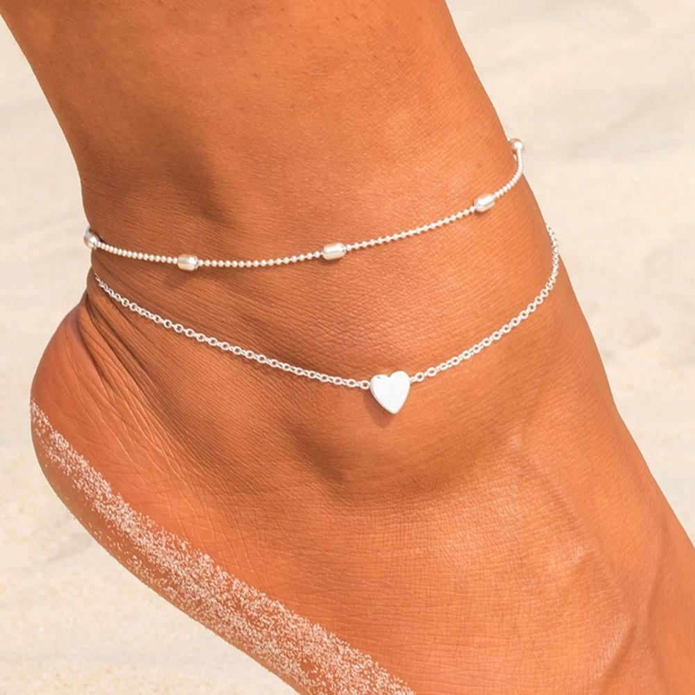 2pcs/Set Women Gold Silver Plated Heart Bib Statement Simplicity Anklet Bracelet Chain Jewelry
