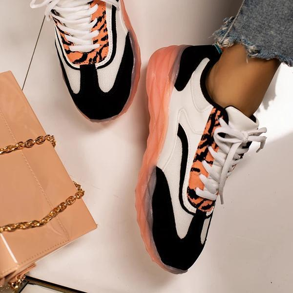 Faddishshoes Material Lace-Up Sneakers