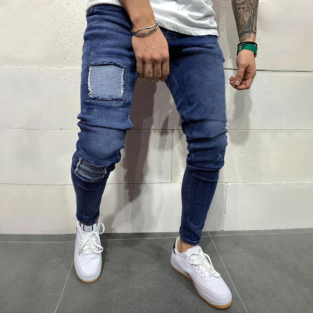 Color-block Patch Paneled Cutout Casual Jeans