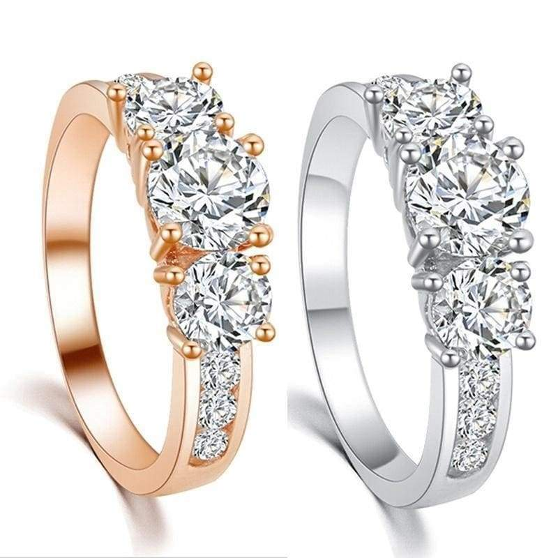 Luxury 18K Gold/Platinum Plated Cubic Zircon Engagment Ring Jewelry(US Size 6 7 8 9)