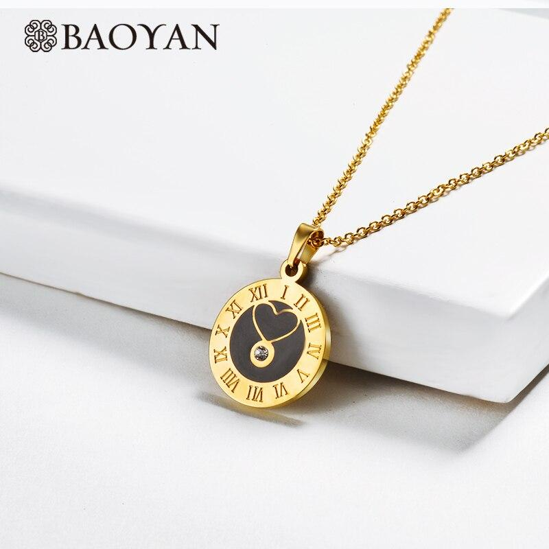 Baoyan Wholesale Stainless Steel Necklace Vintage Round Roman Numerals Pendant Necklace Black Acrylic Love Heart Necklaces Women