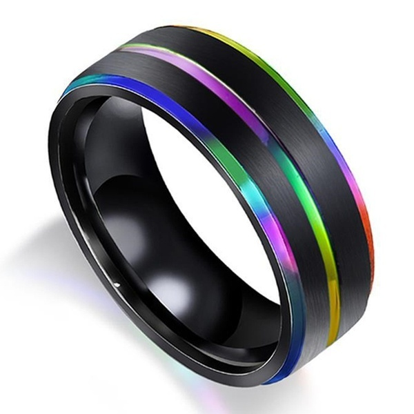 IP Black Plated Titanium Steel Classics Black Gay & Lesbian Pride Ring With Multicolor Rainbow Color Groove Chamfer Design For Women Men Wedding Jewelry Lover Engagement Rings & Wedding Band Couple Gifts
