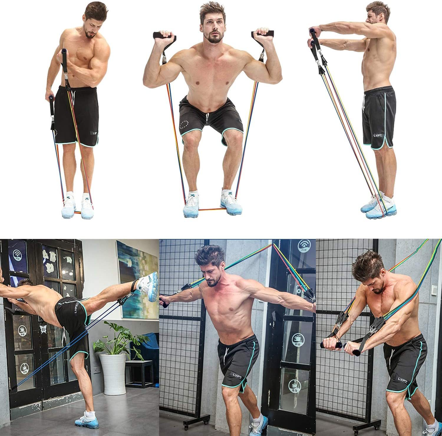 11 PCS Kit Workout Resistance Bands Home Gym Equipment Home Workout Fitness Pull Rope Latex Strength Exercise