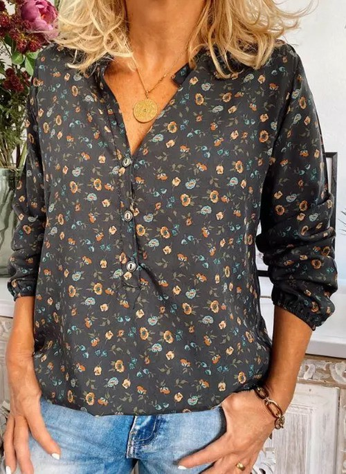 Floral Casual Collar Long Sleeve Blouses