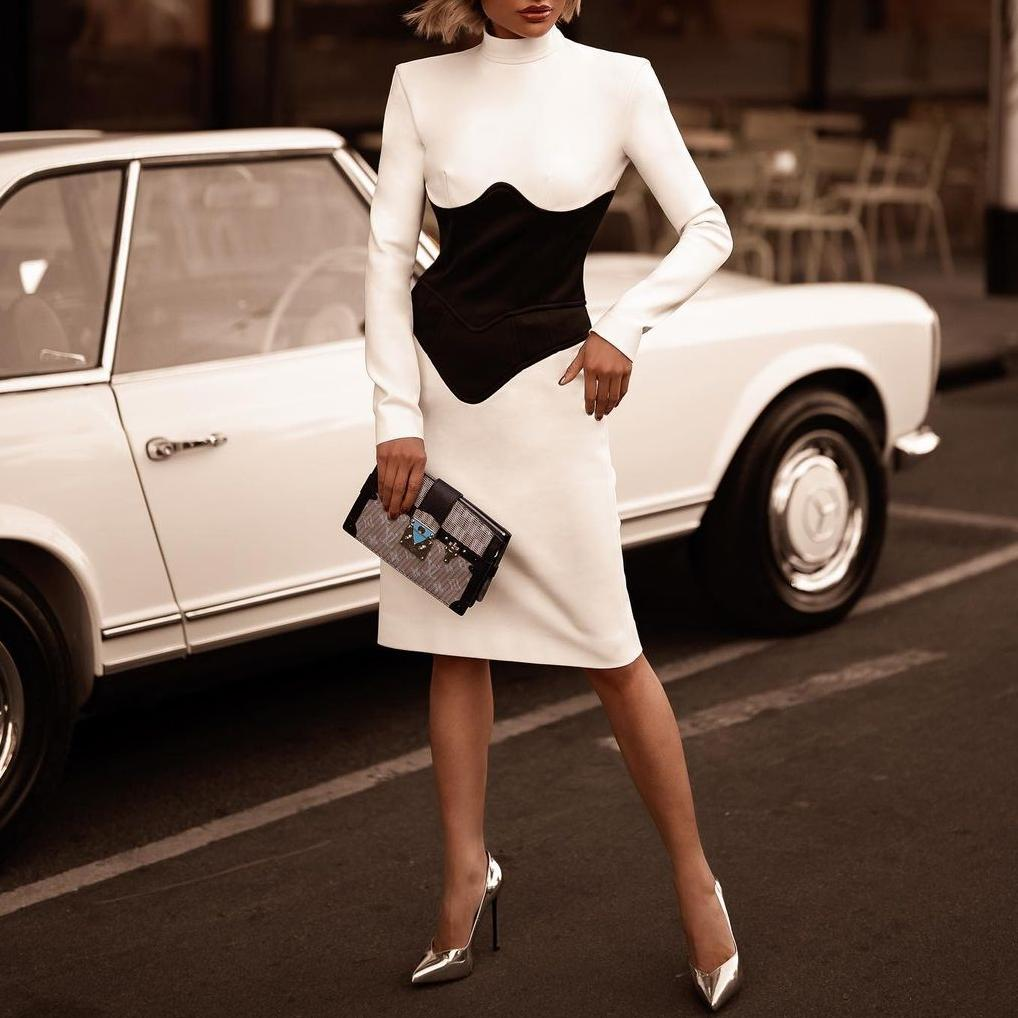 Chic slim color matching long sleeve bodycon dress