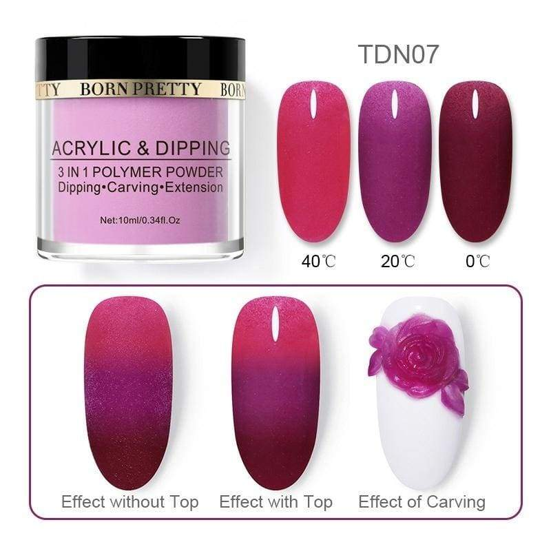 BORN PRETTY 10ML Temperature Change Dipping Nail Powder Thermal Color Changing Acrylic Dust Pigment Nail Extension Decoration