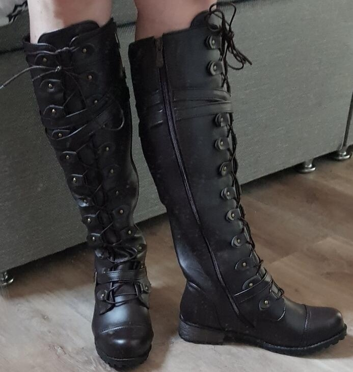 Women Steampunk Gothic Vintage Style Retro Grunge Nineties Punk Buckle Military Combat Boots Plus Size 34-43