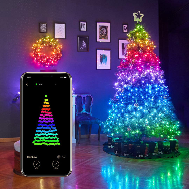 Christmas Tree RGB LED Lights App Bluetooth Enabled Color Changing String Light
