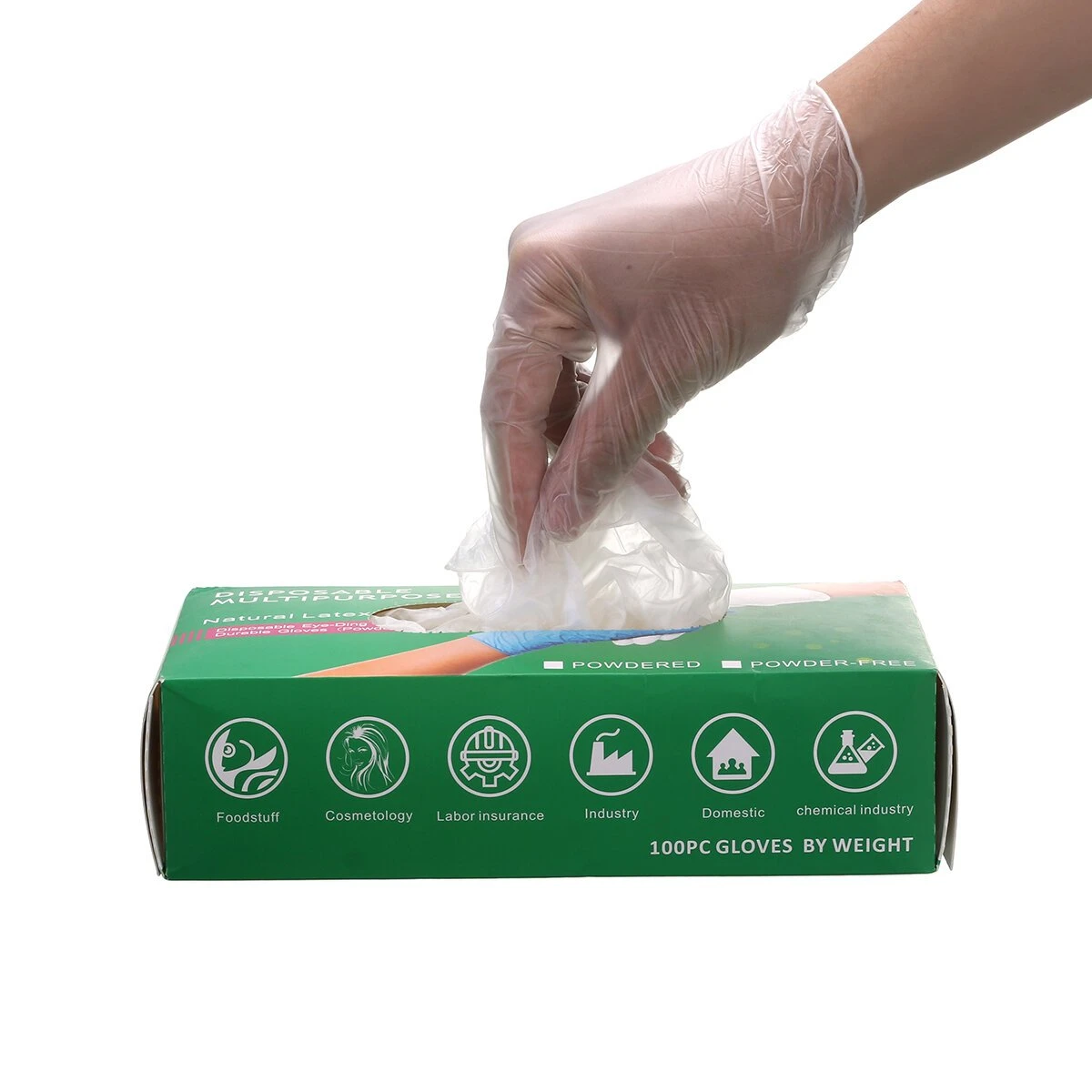 100 Pairs of Slimerence Medical Nitrile Disposable Gloves Powder Free Textured for Foodstuff Chemical Domestic Industry Work
