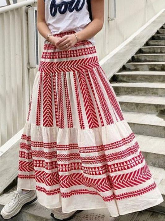 Cotton Vintage Casual Maxi Skirts