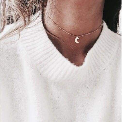 New Simple Cute Gold/Silver Plated Moon Star Heart Necklace Pendant Chain Sweet Elegant Women Party Wedding Jewelry Accessories